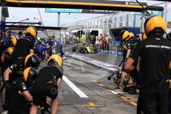 World © Octane Photographic Ltd. Formula 1 – Australian GP - Practice 3. Renault Sport F1 Team RS18 – Carlos Sainz pitstop practice. Albert Park, Melbourne, Australia. Saturday 24th March 2018.