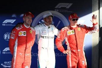World © Octane Photographic Ltd. Formula 1 – Australian GP – Qualifying top 3. Mercedes AMG Petronas Motorsport AMG F1 W09 EQ Power+ - Lewis Hamilton (Pole) and Scuderia Ferrari SF71-H – Kimi Raikkonen (2nd) and Sebastian Vettel (3rd). Albert Park, Melbourne, Australia. Saturday 24th March 2018.