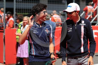 World © Octane Photographic Ltd. Formula 1 – Austrian GP - Drivers Parade. Williams Martini Racing FW41 – Lance Stroll and Sahara Force India VJM11 - Esteban Ocon. Red Bull Ring, Spielberg, Austria. Sunday 1st July 2018.