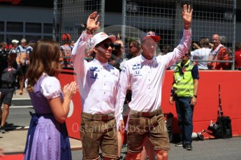 World © Octane Photographic Ltd. Formula 1 – Austrian GP - Drivers Parade. Scuderia Toro Rosso STR13 – Brendon Hartley and Pierre Gasly. Red Bull Ring, Spielberg, Austria. Sunday 1st July 2018.