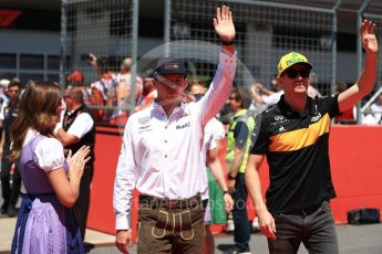 World © Octane Photographic Ltd. Formula 1 – Austrian GP - Drivers Parade. Renault Sport F1 Team RS18 – Nico Hulkenberg and Aston Martin Red Bull Racing TAG Heuer RB14 – Max Verstappen. Red Bull Ring, Spielberg, Austria. Sunday 1st July 2018.