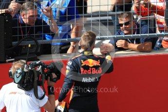 World © Octane Photographic Ltd. Formula 1 – Austrian GP - Race Podium. Aston Martin Red Bull Racing TAG Heuer RB14 – Max Verstappen and VIP. Red Bull Ring, Spielberg, Austria. Sunday 1st July 2018.