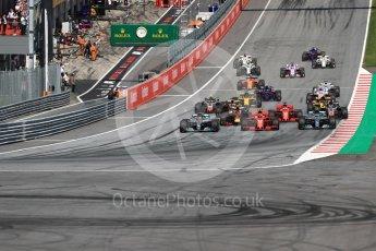 World © Octane Photographic Ltd. Formula 1 – Austrian GP - Race. Mercedes AMG Petronas Motorsport AMG F1 W09 EQ Power+ - Valtteri Bottas, Lewis Hamilton and Scuderia Ferrari SF71-H – Kimi Raikkonen. . Red Bull Ring, Spielberg, Austria. Sunday 1st July 2018.