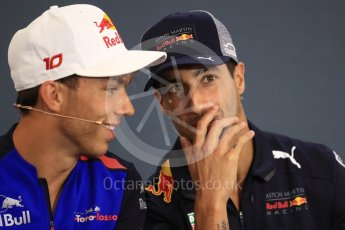 World © Octane Photographic Ltd. Formula 1 – Belgian GP - FIA Drivers' Press Conference. Aston Martin Red Bull Racing TAG Heuer – Daniel Ricciardo and Scuderia Toro Rosso – Pierre Gasly. Spa-Francorchamps, Belgium. Thursday 23rd August 2018.