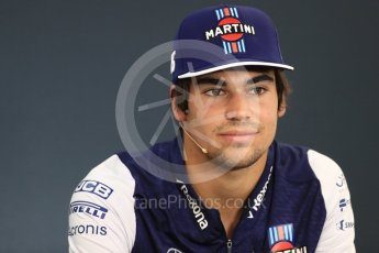 World © Octane Photographic Ltd. Formula 1 – Belgian GP - FIA Drivers' Press Conference. Williams Martini Racing – Lance Stroll. Spa-Francorchamps, Belgium. Thursday 23rd August 2018.