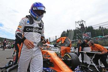 World © Octane Photographic Ltd. Formula 1 – Belgian GP - Grid. McLaren MCL33 – Fernando Alonso. Spa-Francorchamps, Belgium. Sunday 26th August 2018.