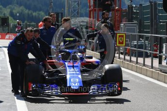 World © Octane Photographic Ltd. Formula 1 – Belgian GP - Practice 3. Scuderia Toro Rosso STR13 – Pierre Gasly car being pushed by his mechanics. Spa-Francorchamps, Belgium. Saturday 25th August 2018.