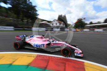 World © Octane Photographic Ltd. Formula 1 – Belgian GP - Qualifying. Racing Point Force India VJM11 - Sergio Perez. Spa-Francorchamps, Belgium. Saturday 25th August 2018.