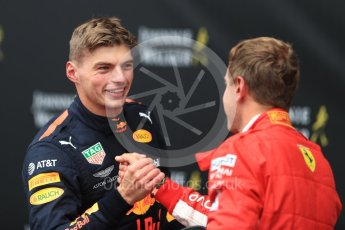 World © Octane Photographic Ltd. Formula 1 – Belgian GP - Race Podium. Scuderia Ferrari SF71-H – Sebastian Vettel and Aston Martin Red Bull Racing TAG Heuer RB14 – Max Verstappen. Spa-Francorchamps, Belgium. Sunday 26th August 2018.