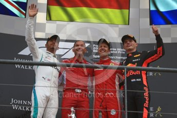 World © Octane Photographic Ltd. Formula 1 – Belgian GP - Race Podium. Scuderia Ferrari SF71-H – Sebastian Vettel, Mercedes AMG Petronas Motorsport AMG F1 W09 EQ Power+ - Lewis Hamilton and Aston Martin Red Bull Racing TAG Heuer RB14 – Max Verstappen. Spa-Francorchamps, Belgium. Sunday 26th August 2018.