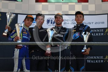 World © Octane Photographic Ltd. FIA Formula 2 (F2) – Belgian GP - Race 2. DAMS - Nicholas Latifi, Carlin - Lando Norris and DAMS - Alexander Albon. Spa-Francorchamps, Belgium. Sunday 26th August 2018.