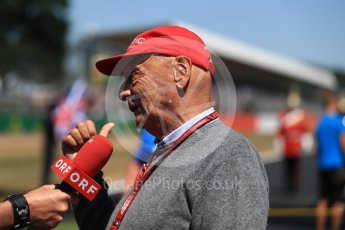 World © Octane Photographic Ltd. Formula 1 - British GP - Grid. Niki Lauda - Non-Executive Chairman of Mercedes-Benz Motorsport. Silverstone Circuit, Towcester, UK. Sunday 8th July 2018.