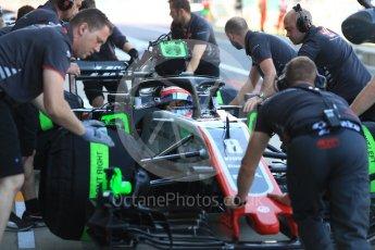 World © Octane Photographic Ltd. Formula 1 – British GP - Paddock. Haas F1 Team VF-18 – Romain Grosjean. Silverstone Circuit, Towcester, UK. Saturday 7th July 2018.