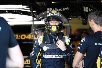 World © Octane Photographic Ltd. Formula 1 – British GP - Paddock. Renault Sport F1 Team RS18 – Nico Hulkenberg. Silverstone Circuit, Towcester, UK. Saturday 7th July 2018.