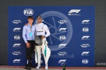 World © Octane Photographic Ltd. Formula 1 – British GP - Qualifying. Mercedes AMG Petronas Motorsport AMG F1 W09 EQ Power+ - Lewis Hamilton and Billy Monger. Silverstone Circuit, Towcester, UK. Saturday 7th July 2018.