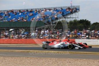 World © Octane Photographic Ltd. Formula 1 – British GP - Qualifying. Alfa Romeo Sauber F1 Team C37 – Charles Leclerc and Scuderia Ferrari SF71-H – Kimi Raikkonen. Silverstone Circuit, Towcester, UK. Saturday 7th July 2018.