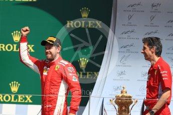 World © Octane Photographic Ltd. Formula 1 – British GP - Podium. Scuderia Ferrari SF71-H – Sebastian Vettel. Silverstone Circuit, Towcester, UK. Sunday 8th July 2018.