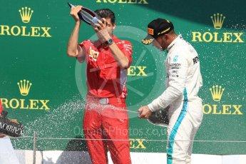World © Octane Photographic Ltd. Formula 1 – British GP - Podium. Mercedes AMG Petronas Motorsport AMG F1 W09 EQ Power+ - Lewis Hamilton with Claudio Albertini. Silverstone Circuit, Towcester, UK. Sunday 8th July 2018.