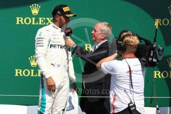 World © Octane Photographic Ltd. Formula 1 – British GP - Podium. Mercedes AMG Petronas Motorsport AMG F1 W09 EQ Power+ - Lewis Hamilton. Silverstone Circuit, Towcester, UK. Sunday 8th July 2018.