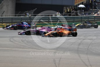 World © Octane Photographic Ltd. Formula 1 – British GP - Race. Sahara Force India VJM11 - Sergio Perez and McLaren MCL33 – Fernando Alonso. Silverstone Circuit, Towcester, UK. Sunday 8th July 2018.
