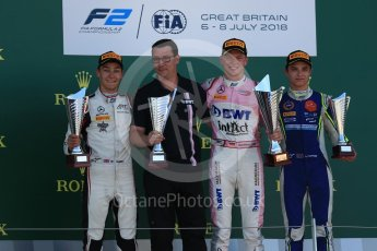 World © Octane Photographic Ltd. FIA Formula 2 (F2) – Spanish GP - Race 2. BWT Arden - Maximilian Gunther, ART Grand Prix - George Russell and Carlin - Lando Norris. Circuit de Barcelona-Catalunya, Spain. Sunday 8th July 2018.