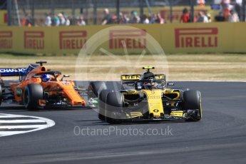 World © Octane Photographic Ltd. Formula 1 – British GP - Practice 1. Renault Sport F1 Team RS18 – Carlos Sainz and McLaren MCL33 – Fernando Alonso. Silverstone Circuit, Towcester, UK. Friday 6th July 2018.
