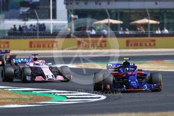 World © Octane Photographic Ltd. Formula 1 – British GP - Practice 1. Scuderia Toro Rosso STR13 – Pierre Gasly and Sahara Force India VJM11 - Sergio Perez. Silverstone Circuit, Towcester, UK. Friday 6th July 2018.