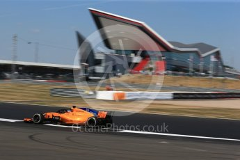 World © Octane Photographic Ltd. Formula 1 – British GP - Practice 2. McLaren MCL33 – Fernando Alonso. Silverstone Circuit, Towcester, UK. Friday 6th July 2018.