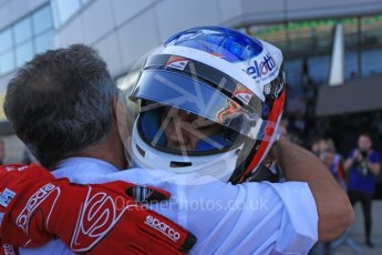 World © Octane Photographic Ltd. GP3 – British GP – Race 2. Trident - Guiliano Alesi with father Jean Alsei. Silverstone Circuit, Towcester, UK. Sunday 8th July 2018.