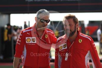 World © Octane Photographic Ltd. Formula 1 - British GP - Paddock. Gino Rosato - Corporate Affairs and Maurizio Arrivabene – Managing Director and Team Principal of Scuderia Ferrari. Silverstone Circuit, Towcester, UK. Sunday 8th July 2018.