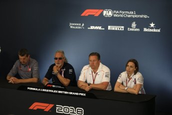 World © Octane Photographic Ltd. Formula 1 - British GP - Friday FIA Team Press Conference. Zak Brown - Executive Director of McLaren Technology Group, Claire Williams - Deputy Team Principal of Williams Martini Racing, Vijay Mallya - Shareholder and Team Principal of Sahara Force India and Guenther Steiner - Team Principal of Haas F1 Team. Silverstone Circuit, Towcester, UK. Friday 6th July 2018.