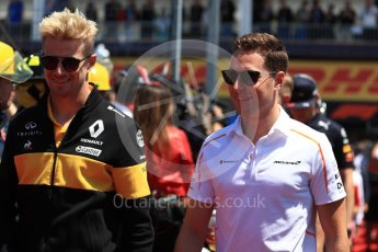 World © Octane Photographic Ltd. Formula 1 – Canadian GP - Drivers Parade. Renault Sport F1 Team RS18 – Nico Hulkenberg and McLaren MCL33 – Stoffel Vandoorne. Circuit Gilles Villeneuve, Montreal, Canada. Sunday 10th June 2018.