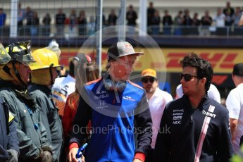 World © Octane Photographic Ltd. Formula 1 – Canadian GP - Drivers Parade. Sahara Force India VJM11 - Sergio Perez and Scuderia Toro Rosso STR13 – Brendon Hartley. Circuit Gilles Villeneuve, Montreal, Canada. Sunday 10th June 2018.