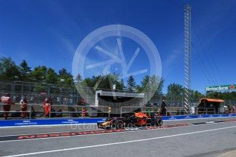 World © Octane Photographic Ltd. Formula 1 – Canadian GP - Practice 3. Aston Martin Red Bull Racing TAG Heuer RB14 – Daniel Ricciardo. Circuit Gilles Villeneuve, Montreal, Canada. Saturday 9th June 2018.