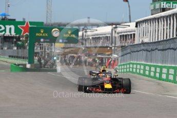 World © Octane Photographic Ltd. Formula 1 – Canadian GP - Quailfying. Aston Martin Red Bull Racing TAG Heuer RB14 – Max Verstappen. Circuit Gilles Villeneuve, Montreal, Canada. Saturday 9th June 2018.