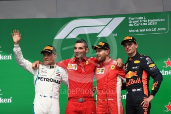 World © Octane Photographic Ltd. Formula 1 – Canadian GP - Race Podium. Scuderia Ferrari SF71-H – Sebastian Vettel, Mercedes AMG Petronas Motorsport AMG F1 W09 EQ Power+ - Valtteri Bottas and Aston Martin Red Bull Racing TAG Heuer RB14 – Max Verstappen. Circuit Gilles Villeneuve, Montreal, Canada. Sunday 10th June 2018.