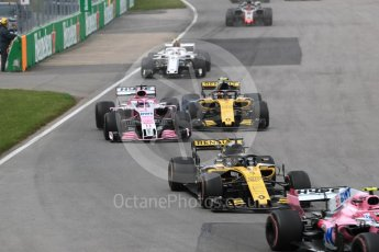World © Octane Photographic Ltd. Formula 1 – Canadian GP - Race. Sahara Force India VJM11 - Sergio Perez and Renault Sport F1 Team RS18 – Carlos Sainz. Circuit Gilles Villeneuve, Montreal, Canada. Sunday 10th June 2018.