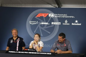 World © Octane Photographic Ltd. Formula 1 - Canadian GP - Friday FIA Team Press Conference. Robert Fernley - Deputy Team Principal of Sahara Force India, Claire Williams - Deputy Team Principal of Williams Martini Racing and Guenther Steiner  - Team Principal of Haas F1 Team. Circuit Gilles Villeneuve, Montreal, Canada. Friday 8th June 2018.