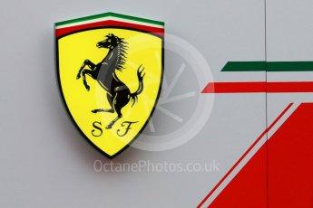 World © Octane Photographic Ltd. Formula 1 – Winter Test 1. Scuderia Ferrari logo, Circuit de Barcelona-Catalunya, Spain. Tuesday 27th February 2018.