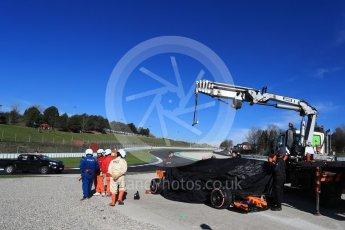 World © Octane Photographic Ltd. Formula 1 – Winter Test 2. McLaren MCL33 – Fernando Alonso stops on track at turn 7. Circuit de Barcelona-Catalunya, Spain. Friday 9th March 2018.
