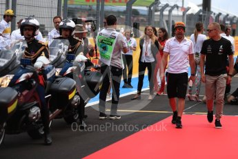 World © Octane Photographic Ltd. Formula 1 – French GP - Drivers Parade. Mercedes AMG Petronas Motorsport AMG F1 W09 EQ Power+ - Valtteri Bottas and McLaren MCL33 – Fernando Alonso. Circuit Paul Ricard, Le Castellet, France. Sunday 24th June 2018.