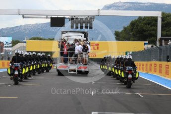 World © Octane Photographic Ltd. Formula 1 – French GP. Gendarmerie police line the drivers parade. Circuit Paul Ricard, Le Castellet, France. Sunday 24th June 2018.