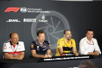 World © Octane Photographic Ltd. Formula 1 - French GP - Friday FIA Team Press Conference. Cyril Abiteboul - Managing Director of Renault Sport Racing Formula 1 Team, Eric Boullier - Racing Director of McLaren, Christian Horner - Team Principal of Red Bull Racing and Frederic Vasseur – Team Principal and CEO of Sauber Motorsport AG. Circuit Paul Ricard, Le Castellet, France. Friday 22nd June 2018.