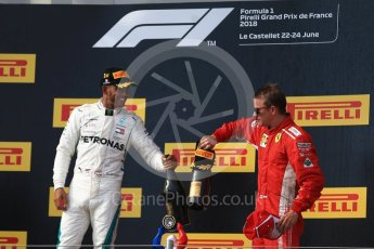 World © Octane Photographic Ltd. Formula 1 – French GP - Race Podium. Mercedes AMG Petronas Motorsport AMG F1 W09 EQ Power+ - Lewis Hamilton and Scuderia Ferrari SF71-H – Kimi Raikkonen. Circuit Paul Ricard, Le Castellet, France. Sunday 24th June 2018.