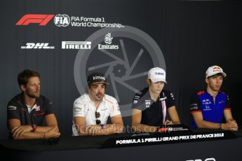 World © Octane Photographic Ltd. Formula 1 – French GP - Thursday Driver Press Conference. Scuderia Toro Rosso – Pierre Gasly, Sahara Force India - Esteban Ocon, McLaren – Fernando Alonso and Haas F1 Team – Romain Grosjean. Circuit Paul Ricard, Le Castellet, France. Thursday 21st June 2018.
