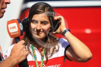 World © Octane Photographic Ltd. Formula 1 - German GP - Paddock. Tatiana Calderon - Development Driver Sauber F1 Team. Hockenheimring, Baden-Wurttemberg, Germany. Friday 20th July 2018.