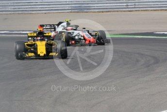 World © Octane Photographic Ltd. Formula 1 – German GP - Practice 2. Renault Sport F1 Team RS18 – Carlos Sainz and Haas F1 Team VF-18 – Kevin Magnussen. Hockenheimring, Baden-Wurttemberg, Germany. Friday 20th July 2018.