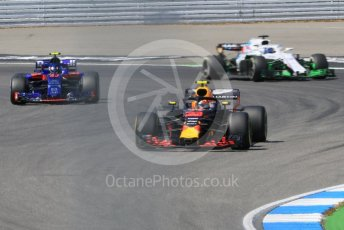World © Octane Photographic Ltd. Formula 1 – German GP - Practice 2. Aston Martin Red Bull Racing TAG Heuer RB14 – Max Verstappen, Scuderia Toro Rosso STR13 – Pierre Gasly and Williams Martini Racing FW41 – Lance Stroll. Hockenheimring, Baden-Wurttemberg, Germany. Friday 20th July 2018.