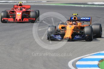World © Octane Photographic Ltd. Formula 1 – German GP - Practice 2. McLaren MCL33 – Stoffel Vandoorne and Scuderia Ferrari SF71-H – Kimi Raikkonen. Hockenheimring, Baden-Wurttemberg, Germany. Friday 20th July 2018.