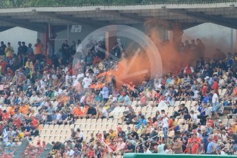 World © Octane Photographic Ltd. Formula 1 – German GP - Qualifying. Max Verstappen fans letting off a flare in the grandstand. Hockenheimring, Baden-Wurttemberg, Germany. Saturday 21st July 2018.